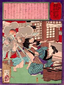 Ukiyo-E Newspaper: a Noodle Shop Wife Throw a Boiling Pot to Her Husband by Yoshitoshi Tsukioka