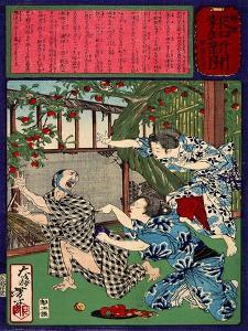 Ukiyo-E Newspaper: Jealous Wife Killed Her Husband by Yoshitoshi Tsukioka