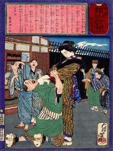 Ukiyo-E Newspaper: Renowned Swordswoman Hanako Miyamoto Punishes a Drunkard by Yoshitoshi Tsukioka