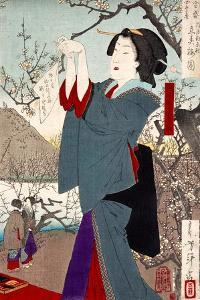 View of the Plums on the First Day of Spring by Yoshitoshi Tsukioka