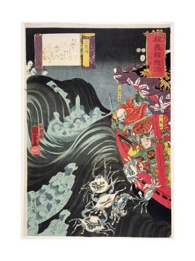 Yoshitsune, with Benkei and Other Retainers in their Ship Beset by the Ghosts of Taira, 1853-Kuniyoshi Utagawa-Giclee Print