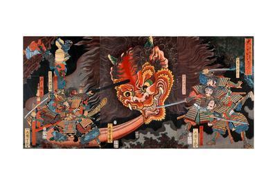 Shuten Doji's Head Attacking Raiko's Band of Warriors