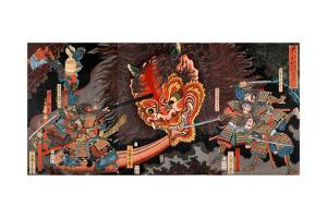 Shuten Doji's Head Attacking Raiko's Band of Warriors by Yoshitsuya Utagawa