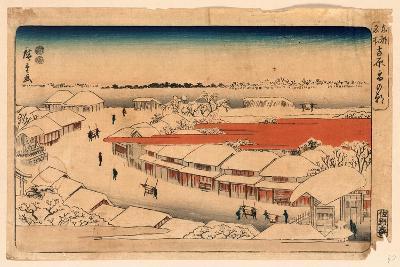 Yoshiwara Yuki No Asa-Utagawa Hiroshige-Giclee Print
