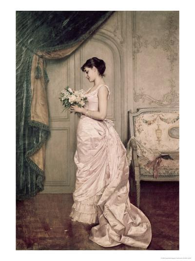 You Are My Valentine, Love Letter with Roses-Auguste Toulmouche-Giclee Print