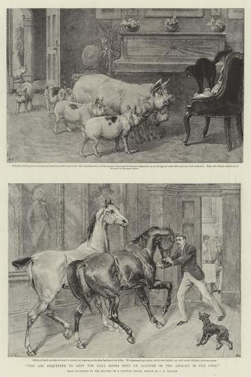 You are Requested to Keep the Hall Doors Shut on Account of the Animals in the Park-Samuel Edmund Waller-Giclee Print