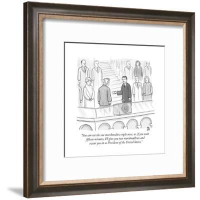 """""""You can eat the one marshmallow right now, or, if you wait fifteen minute... - New Yorker Cartoon-Paul Noth-Framed Premium Giclee Print"""