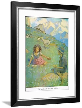 You Can Have That, I Have Plenty', Illustration from 'Heidi'-Jessie Willcox-Smith-Framed Giclee Print