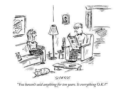 """""""You haven't said anything for ten years. Is everything O.K.?"""" - New Yorker Cartoon-David Sipress-Premium Giclee Print"""