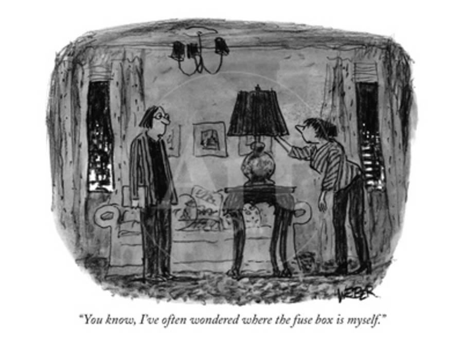 """You know, I've often wondered where the fuse box is myself."" - New Yorker  Cartoon Premium Giclee Print by Robert Weber 