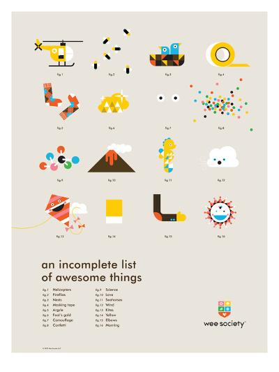 You Know What's Awesome? List (Gray)-Wee Society-Giclee Print