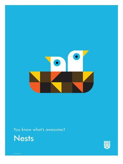 You Know What's Awesome? Nests (Blue)-Wee Society-Giclee Print