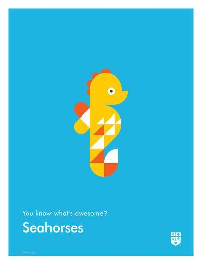 You Know What's Awesome? Seahorses (Blue)-Wee Society-Giclee Print