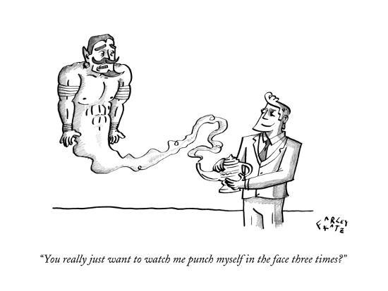 """""""You really just want to watch me punch myself in the face three times?"""" - New Yorker Cartoon-Farley Katz-Premium Giclee Print"""