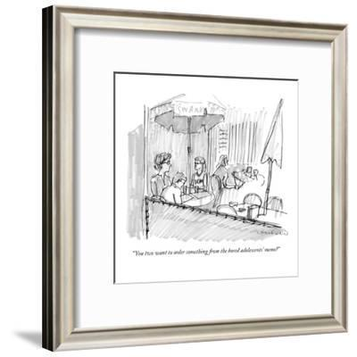 """""""You two want to order something from the bored adolescents' menu?"""" - New Yorker Cartoon-Michael Crawford-Framed Premium Giclee Print"""