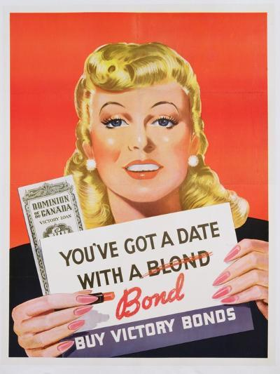 You'Ve Got a Date with a Bond', Poster Advertising Victory Bonds (Colour Litho)- Canadian-Giclee Print