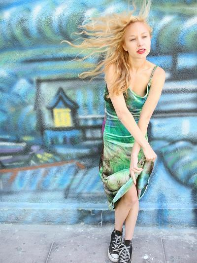 Young Alternative Woman with Blonde Hair Wearing Playful 90s Grunge Fashion Clothing-Jena Ardell-Photographic Print
