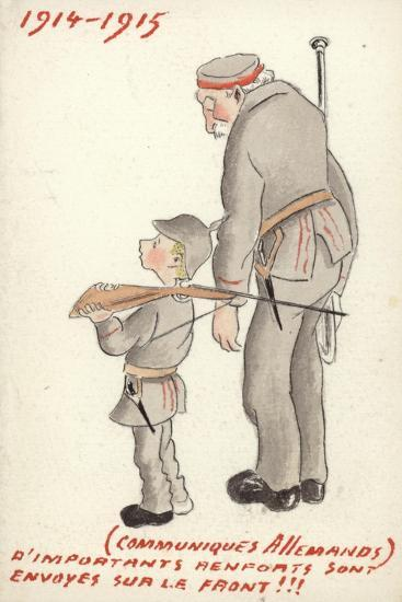 Young and Old German Soldiers Looking Forlorn--Giclee Print