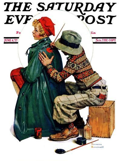 """Young Artist"" or ""She's My Baby"" Saturday Evening Post Cover, June 4,1927-Norman Rockwell-Giclee Print"