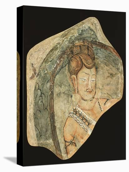 Young Ascetic in Hut of Leaves, Mural Painting from Navigators of Kizil Cave, Xinjiang, China--Stretched Canvas Print