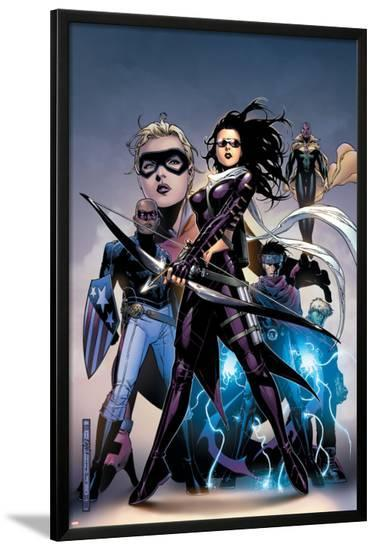 Young Avengers No.10 Cover: Bishop, Kate, Patriot, Wiccan, Stature, Vision and Hulkling Stretching-Jim Cheung-Lamina Framed Poster
