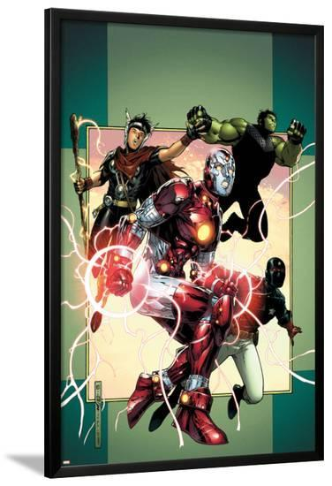 Young Avengers No.3 Cover: Iron Lad, Wiccan, Hulkling and Patriot-Jim Cheung-Lamina Framed Poster