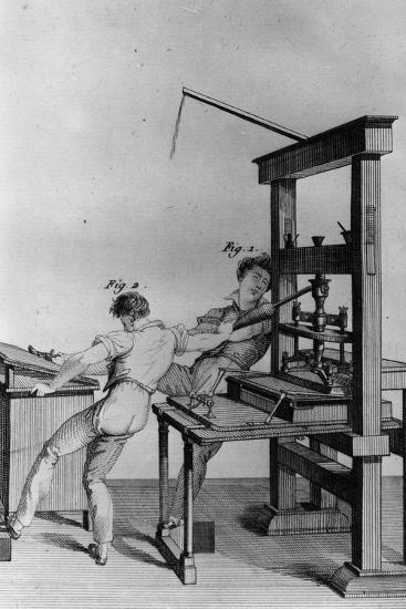 Young Blind Men Working at a Printing Press, Illustration from 'Essay on Instructing the Blind'…-Julie Ribault-Giclee Print