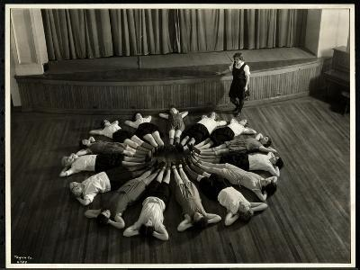 Young Blind Women Lying in a Starburst Pattern on the Floor of the Gymnasium at the New York…-Byron Company-Giclee Print