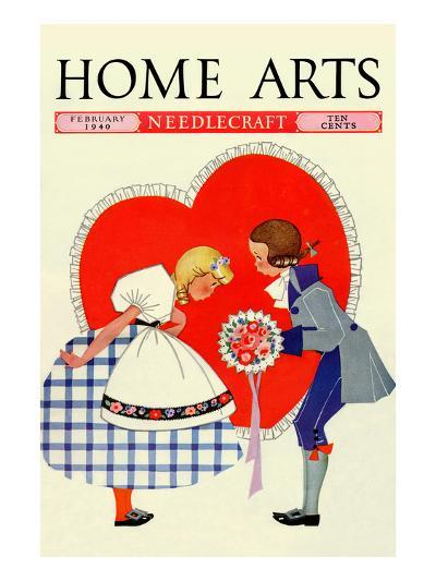 Young Boy Gives a Little Girl a Nosegay-Home Arts-Art Print