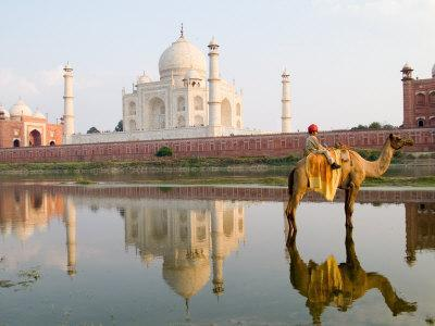 Young Boy on Camel, Taj Mahal Temple Burial Site at Sunset, Agra, India-Bill Bachmann-Photographic Print