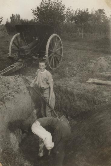 Young Boy Photographed While Digging a Trench in San Giorgio Di Nogaro During the First World War--Photographic Print
