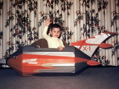 Young Boy Plays in a Cardboard Rocketship, Ca. 1956
