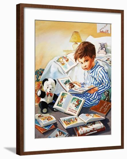 Young Boy Reading Story Books--Framed Giclee Print
