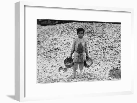 Young Boy Shrimp Picker near Oyster Mount Photograph - Biloxi, MS-Lantern Press-Framed Art Print