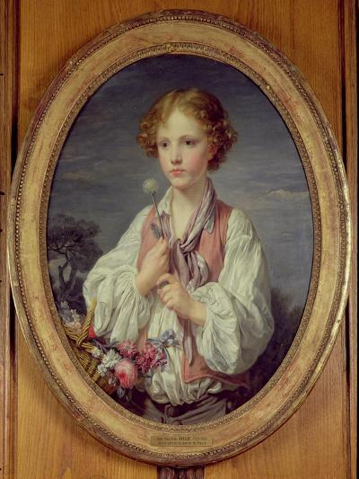 Young Boy with a Basket of Flowers-Jean-Baptiste Greuze-Giclee Print