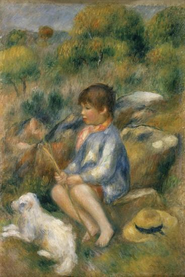 Young Boy with His Dog by a Brook, 1890-Pierre-Auguste Renoir-Giclee Print
