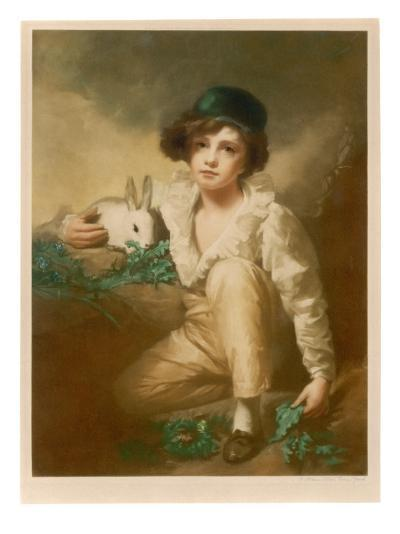 Young Boy with Rabbit--Giclee Print