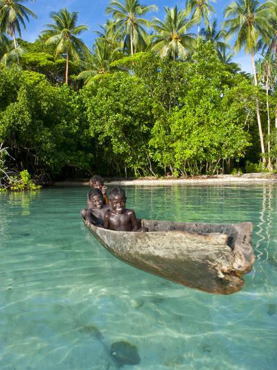 Young Boys Fishing in the Marovo Lagoon, Solomon Islands, Pacific-Michael Runkel-Photographic Print