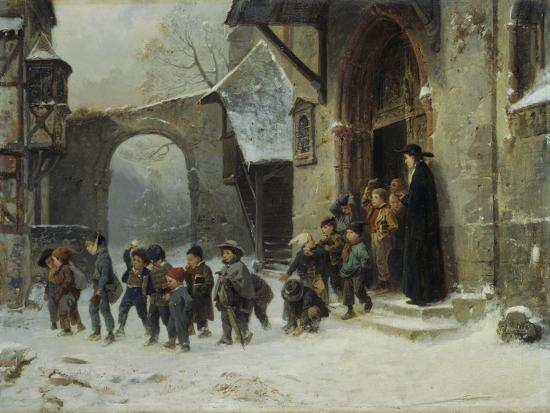 Young Boys Leaving a Church School Building onto a Snow Covered Courtyard, c.1853-Marc Louis Benjamin Vautier-Giclee Print