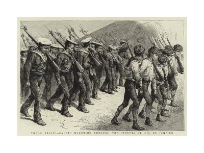 Young Brazil, Cadets Marching Through the Streets of Rio De Janeiro--Giclee Print