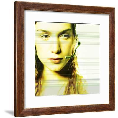 Young Caucasian Woman with Technology--Framed Photographic Print