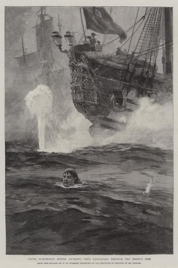 Young Cloudesley Shovell Swimming with Despatches Through the Enemy's Fire-William Heysham Overend-Giclee Print