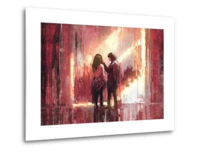 Young Couple in Love Outdoor,Digital Painting,Illustration-Tithi Luadthong-Metal Print
