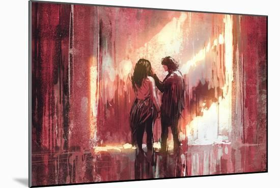 Young Couple in Love Outdoor,Digital Painting,Illustration-Tithi Luadthong-Mounted Art Print