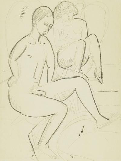 Young Couple in the Bathroom-Ernst Ludwig Kirchner-Giclee Print