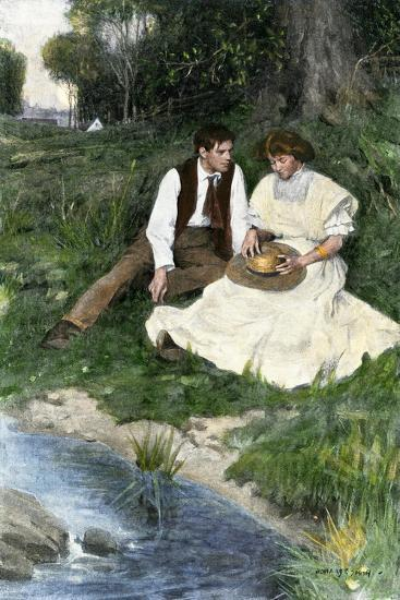 Young Couple Seated by a Brook, Early 1900s--Giclee Print