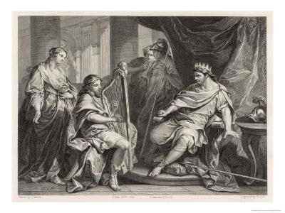 Young David Plays the Harp to Entertain King Saul-William Holl the Younger-Giclee Print