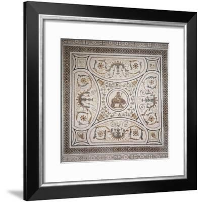 Young Dionysus Riding Tiger, Detail of Mosaic--Framed Giclee Print