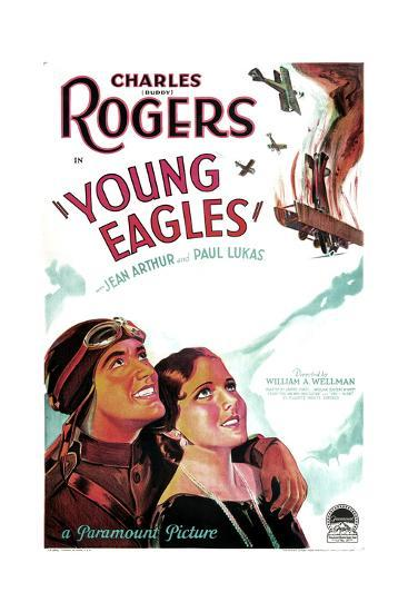 YOUNG EAGLES, US poster art, from left: Charles 'Buddy' Rogers, Jean Arthur, 1930--Art Print
