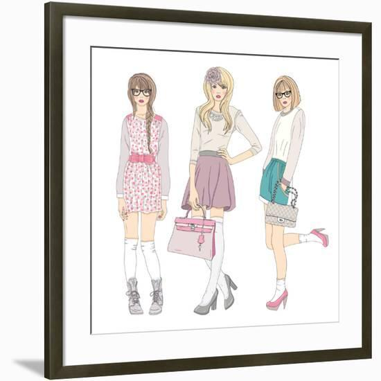 Young Fashion Girls Illustration. With Teen Females-cherry blossom girl-Framed Art Print